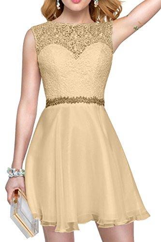 A Partykleider Festlichkleider Kurzes Linie Champagner Promkleider Abendkleider La Tanzenkleider Damen Brau Spitze Mini mia Rock qCvxaY