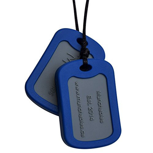Munchables Chewable Dog Tags - Sensory Chew Military Necklace for Boys (Navy)