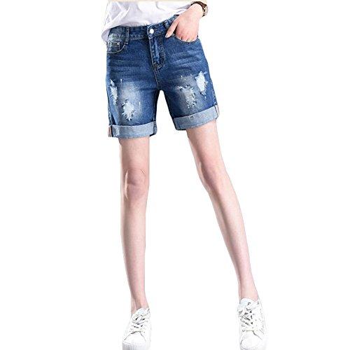 解決剣ログ(シンイ)Xin Yi レディース デニム ショート パンツ ハーフパンツ ショーパン ショートパンツ 短パン ジーンズ ジーパン ハーフ パンツ ダメージ加工 ボトムス ファッション 新着 美脚