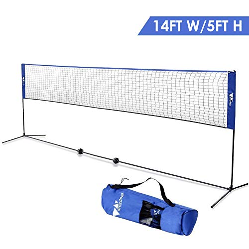 amzdeal Badminton Net Kids Volleyball Net 14Ft Wide/5Ft H Portable Sports Net Stand with Poles, for Badminton Tennis Soccer Pickleball Beach Volleyball, with Carry Bag, Blue