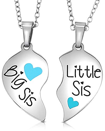 Girls, Teens Easter Necklace Gifts - 2 Piece Matching Heart Big Sis Little Lil Sis Sisters Necklace Jewelry Gift Set Best Friends - Sister Necklaces for 2 (Turquoise Color) ()