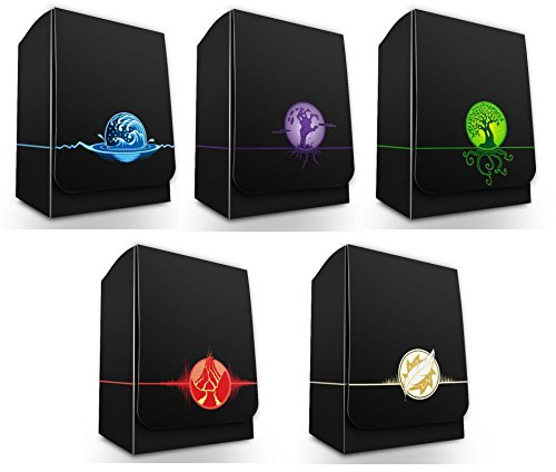 Max-Pro ALL 5 ICONIC ELEMENTAL Symbol DECK BOXES ( Box fits MTG Mana FORCE OF WILL Pokemon Cards) ()