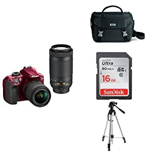 Nikon D3400 w/ AF-P DX NIKKOR 18-55mm f/3.5-5.6G VR & AF-P DX NIKKOR 70-300mm f/4.5-6.3G ED (Red) + 16GB Memory Card, Bag and Tripod