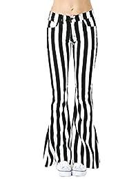 Gocgt Womens Striped Pants Slim Fit Bell Bottom Wide Leg Palazzo Trousers