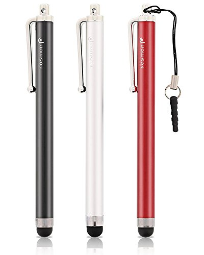 Fosmon Trio Capacitive Stylus in Black, Silver and Red for Kindle Fire, Kindle Paperwhite and other Touchscreen Devices (Best Stylus For Kindle)