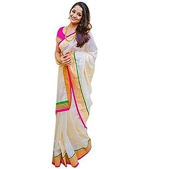 8e6e62fc51 Pramukh Suppliers Women's Chanderi Cotton Saree With Blouse Piece (Zari  Pink Saree_Off White): Amazon.in: Clothing & Accessories