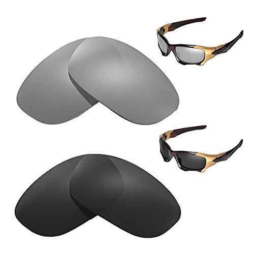 Walleva Polarized Titanium + Black Replacement Lenses Oakley PIT BOSS II - Oakley Boss Pit Lenses