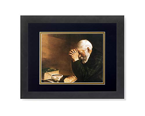Daily Bread Man Praying at Table Grace Religious Wall Picture B G Matted 13×16 Framed Art Print