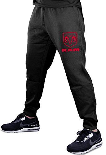 Interstate Apparel Men's Dodge RAM Logo Chest Black Fleece Gym Jogger Sweatpants X-Large ()