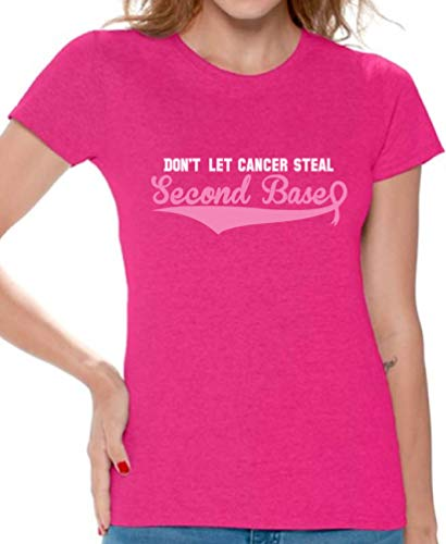 Awkward Styles Don't Let Cancer Steal Second Base T-Shirt Breast Cancer Shirt L Pink