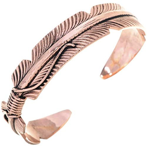 Native American Copper Feather Cuff Southwest Ladies Bracelet ()