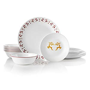 Corelle 18-Piece Service for 6, Chip Resistant, Dancer & Prancer Dinnerware Set