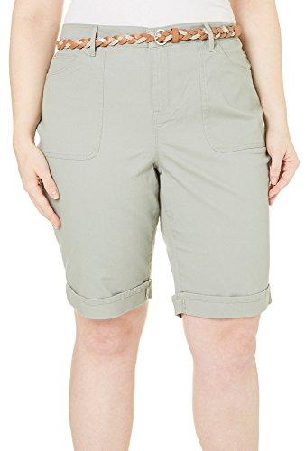 Gloria Vanderbilt Womens Rachel Bermuda Shorts (Laurel Mist, 24W)