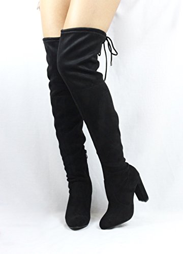 Jacobies Over The Knee Chunky High Heel Block Chunky Thigh High Round Toe Boots Black LFl2eWDxCO