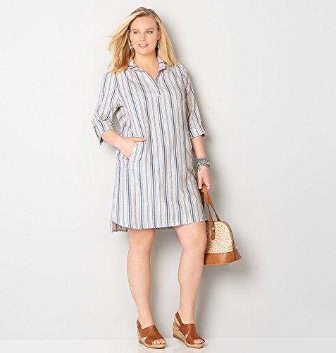 AVENUE-Womens-Striped-Shirtdress