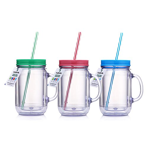 Cupture Double Wall Insulated Plastic Mason Jar Tumbler Mug with Striped Straws - 20 oz, 3 Pack]()