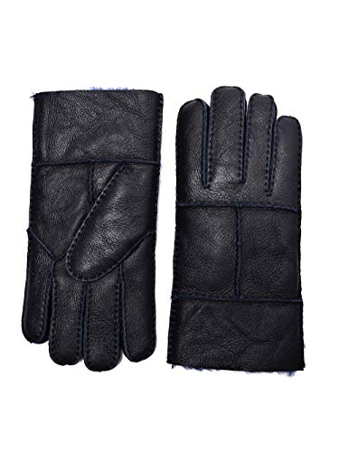 YISEVEN Men's Rugged Sheepskin Mittens Shearling Leather Gloves Mittens Sherpa Fur Flip Cuff Thick Wool Lined and Heated Warm for Winter Cold Weather Dress Driving Work Xmas Gifts, Navy Blue Medium (Norwegian Mittens)