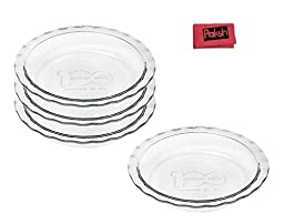 Glass Pie Dishes 100 Year Anniversary 9 1/2 Inch Deep Dish Pie Plate, Set of 4 - Bundle With Cloth