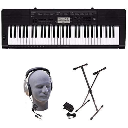 Casio CTK-3500 PPK 61-Key Premium Keyboard Pack with Stand, Headphones & Power Supply (Renewed)