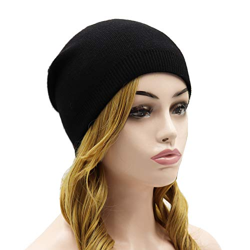Wheebo Beanie Hat Cashmere Stretch Skull Ski Cap for Women Men -Winter Knit Hat Solid Color Unisex Style (Black)