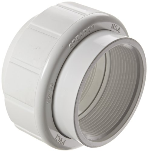 Spears 458 Series PVC Pipe Fitting, Union with Buna O-Ring, Schedule 40, 3