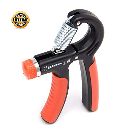 Simwell Hand Grip Strengthener Workout 11-132 Lbs Adjustable and Non-Slip Strength Trainer, Forearm & Finger Hand Exerciser Perfect for Athletes Pianists Kids Hand Rehabilitation Exercising(Orange)