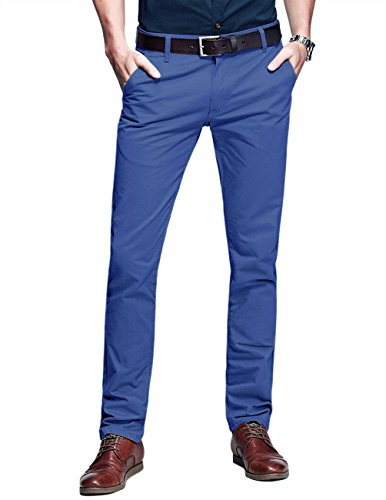 Match Mens Slim-Tapered Flat-Front Casual Pants(34W x 31L,Light Blue)