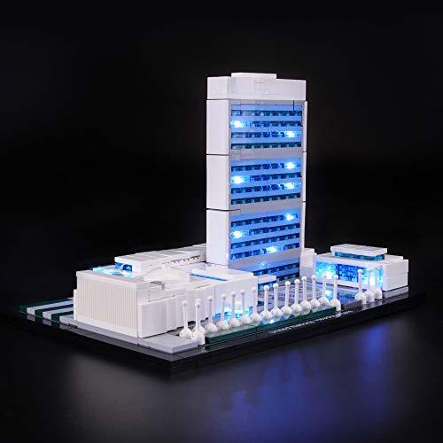 LUCES Conjunto de luces para (Arquitectura Sede de las Naciones Unidas) Modelo de bloques de construcción - Kit de luces LED Compatible con Lego 21018 (NO incluido el modelo)