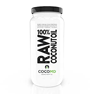 Coconut Oil for Hair & Skin By COCOMD. 100% Raw Cold Pressed Virgin Organic Coconut Oil 16oz. Free Handcrafted Spoon.