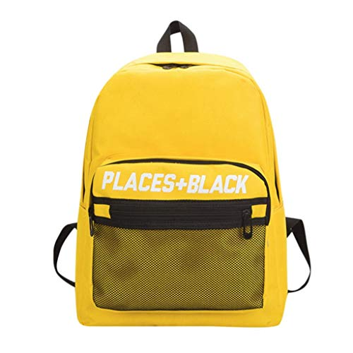 School Backpack Boys Children Adult Girls Mesh Yellow Outdoor Print Bookbag EUzeo Bags Letter RwTpB6qW
