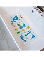 BEEHOMEE Antislip badmat douchematten voor kinderen, antislip schimmelbestendig voor kinderen, anti-slipbestendige badmatten badkamermat voor baby 90X40CM XL grote badmat (blauw)