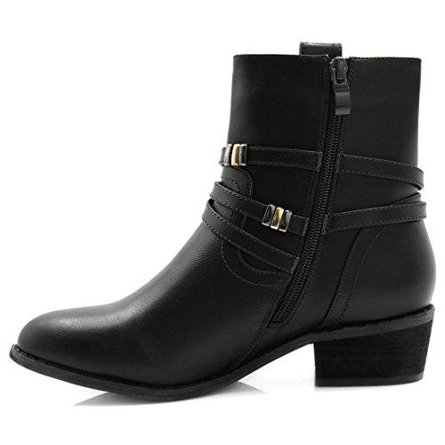 Zipper Heel Block K Ankle Allegra Black Studded Straps Women's Boots Motorcycle XqY1YnO6I