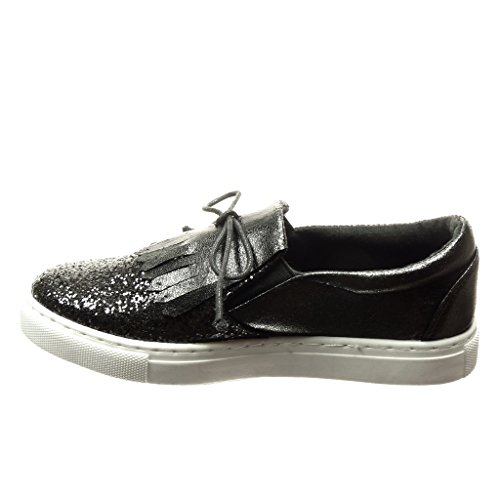Angkorly - Scarpe da Moda Sneaker slip-on donna paillette frange lacci Tacco tacco piatto 2 CM - Nero