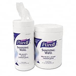 Purell Sanitizing Wipes, 6 x 8 in. Wipes, Canister/175