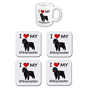 I Love My Affenpinscher Coffee Cup With Matching Coaster Set 3