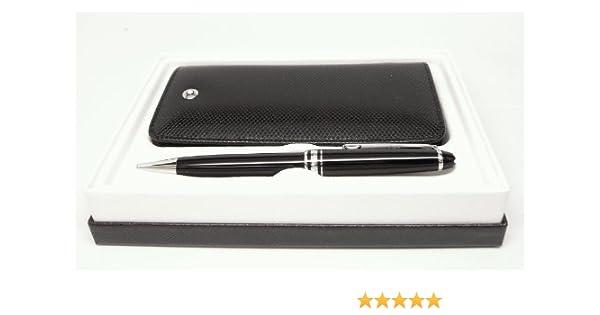 Montblanc Meisterstuck Classique Twist Ballpoint Pen 02866, Negro con borde de platino P164, y exterior de Boheme Azul (negro) 3-pen funda de piel paquete de regalo y Embalaje 05100: Amazon.es: Oficina y