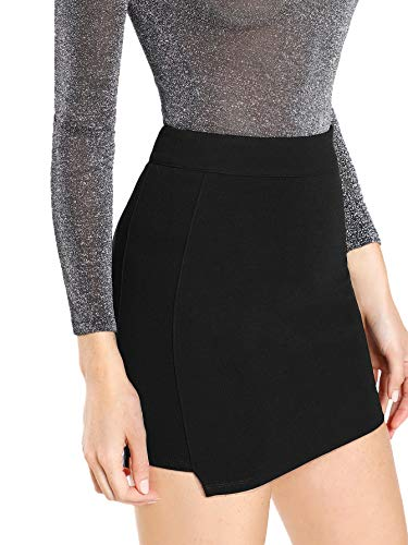 Floerns Women's Solid Bodycon Faux Suede Mini Skirt Black S ()