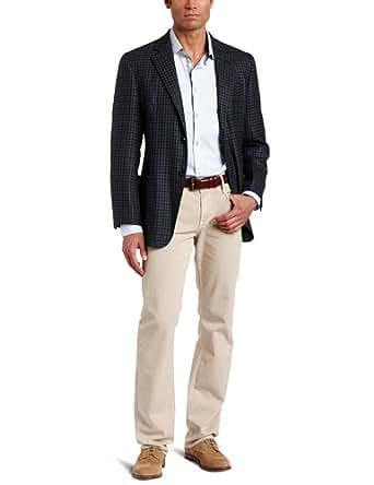 Joseph Abboud Men's 2 Button Side Vent Soft Construction Check Sport Coat,  Navy, 36 S