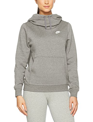 NIKE Sportswear Women's Funnel-Neck Hoodie, Dark Grey Heather/Dark Grey Heather/White, - Hoodies Women Nike