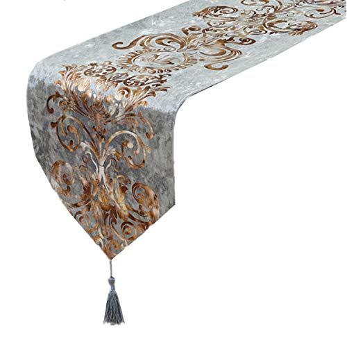 """Modern Luxury Table Runner Hot Stamping Dresser Scarves with Tassels Home Decor, 12"""" x 70"""", Grey"""