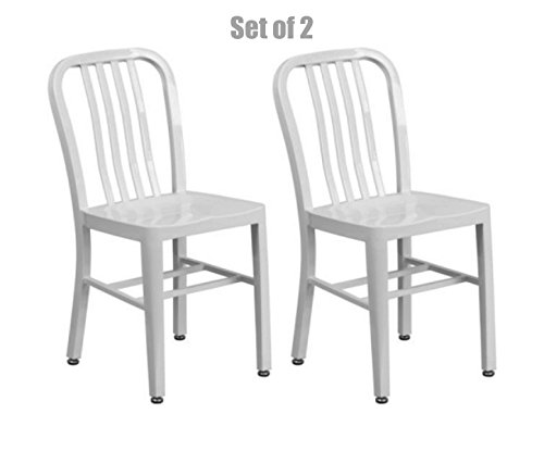 Classic Industrial Style Metal Frame School Restaurant Dining Chair Indoor Outdoor Furniture White #1061 (Indoors Out Nz Furniture)