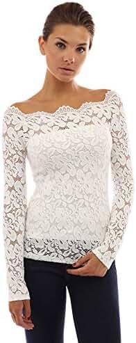 PattyBoutik Women's Floral Lace Off Shoulder Twin Set Top