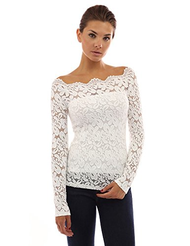 PattyBoutik Women's Floral Lace Off Shoulder Top (Off-White M)