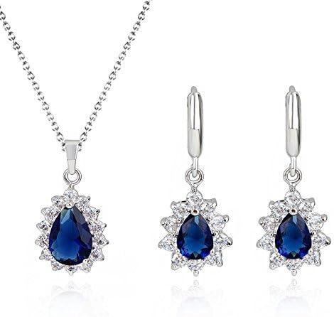 Lacrima 18 kt placcato oro Zaffiro simulato blu Cristalli austriaci di zirconi Purare Collana Orecchini Bracciale
