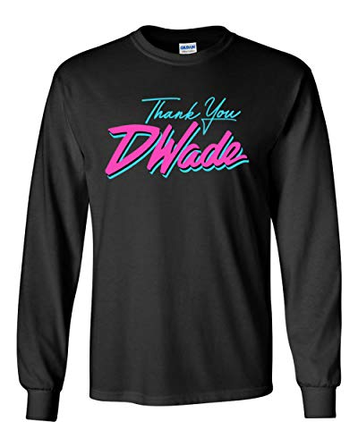 Jersey Wade D (PROSPECT SHIRTS Long Sleeve Black Miami D Wade Thank You t-Shirt Adult)