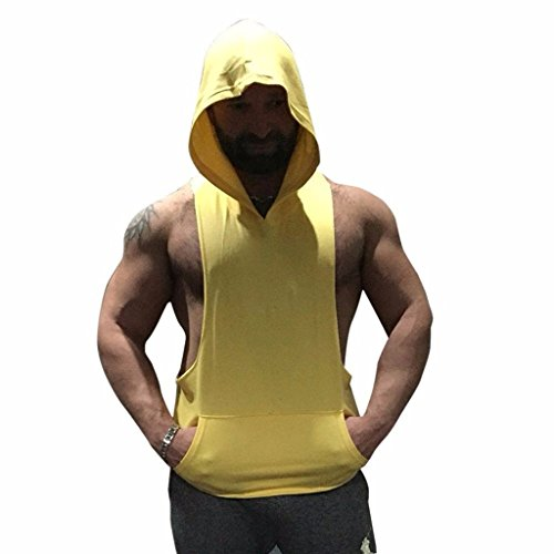 InleaderStyle Men's Gym Cotton Sweater Bodybuilding Sleeveless Muscle Hooded Vest