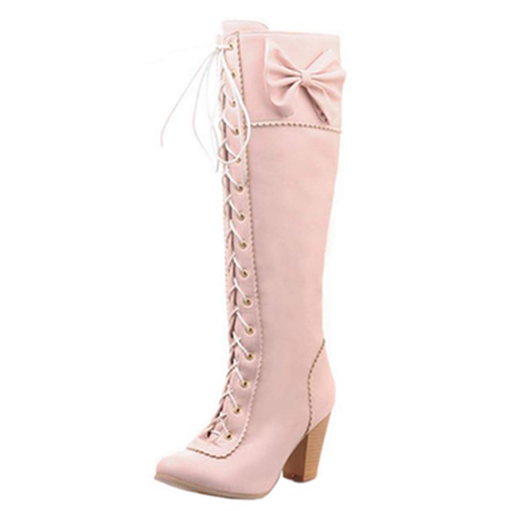 CHICMARK Women Lace Up Knee High Boots