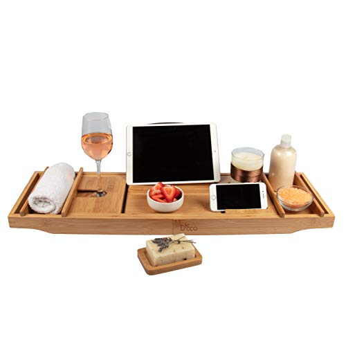 "Deco 79 Luxury Bamboo Bathtub Caddy Tray with Book and Wine Holder, Extends up to 43"" with Non Slip Design, One or Two Person Bath and Bed Tray - Free Soap Dish - Natural"
