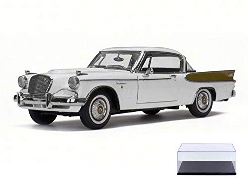 (Diecast Car & Display Case Package - 1957 Studebaker Golden Hawk, Arctic White - Sun Star 6152 - 1/18 Scale Diecast Model Toy Car w/Display Case)