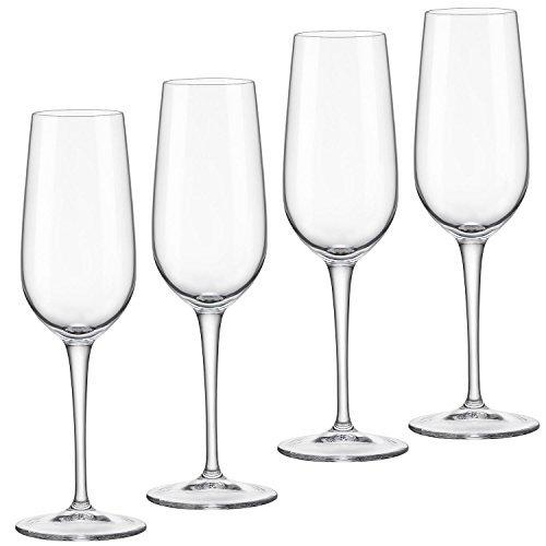 Bormioli Rocco Spazio Series 4 Flute Glasses Clear White Wine Glasses for Celebration 6.5 ounces ()